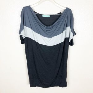 Pleione Slouch Black Grey and White Top